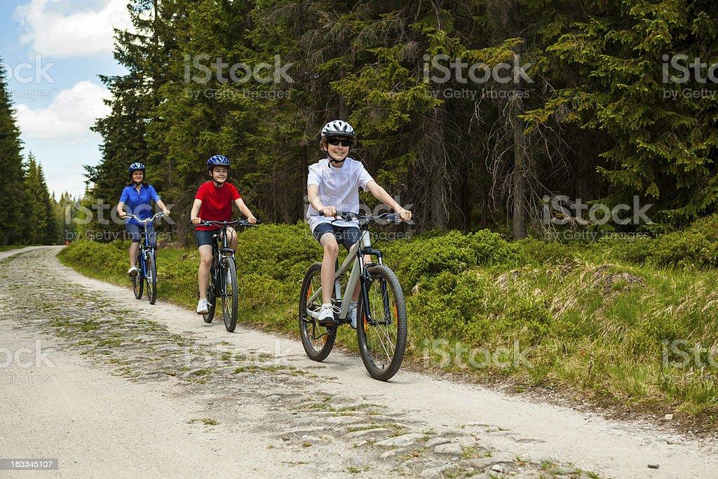 Active family biking royalty-free stock photo
