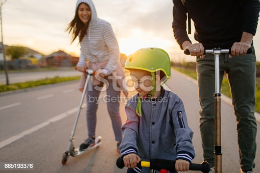 istock Active family on wheels 665193376