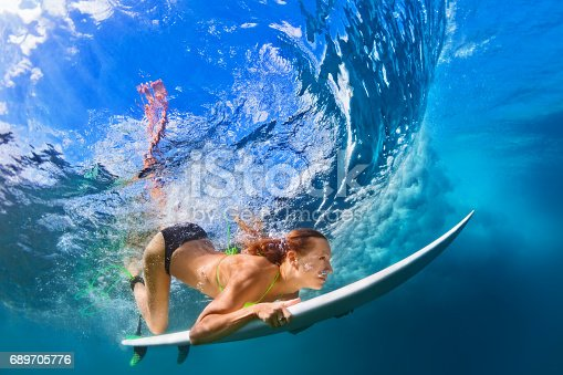 583830686 istock photo Active girl in bikini in dive action on surf board 689705776