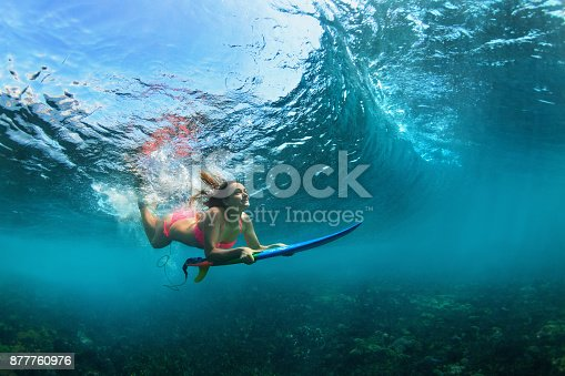 583830686 istock photo Active girl in bikini in dive action on surf board 877760976