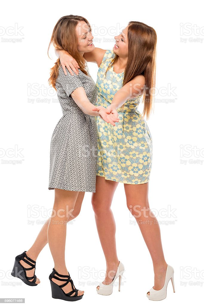 active girlfriends having fun and dancing on a white background royalty-free stock photo