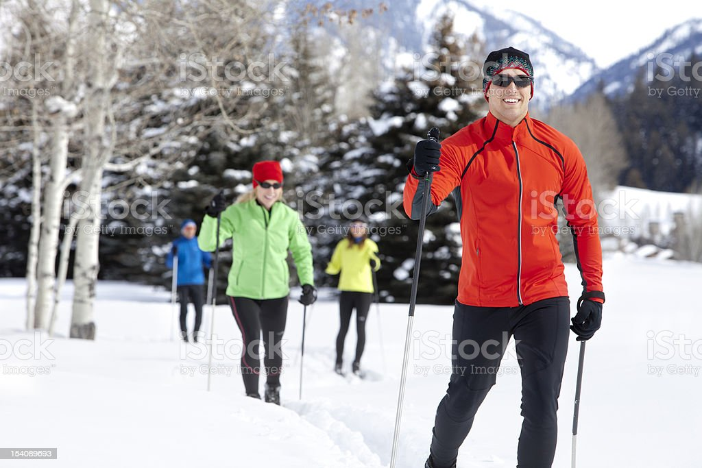 Active Group Back Country Nordic Skiing stock photo