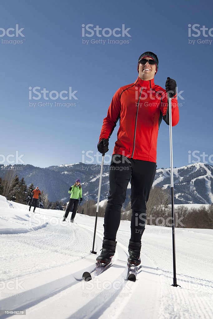 Active Group Enjoying Back Country Nordic Skiing royalty-free stock photo