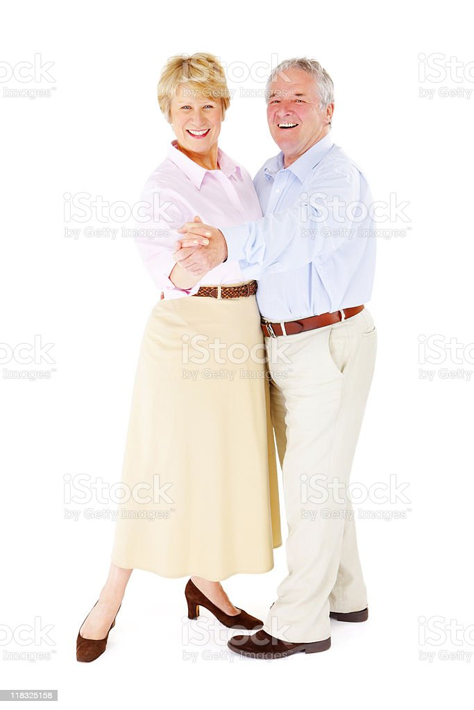 Active happy Senior couple dancing isolated on white background royalty-free stock photo