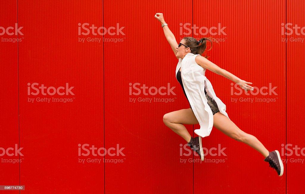 Active happy woman stock photo