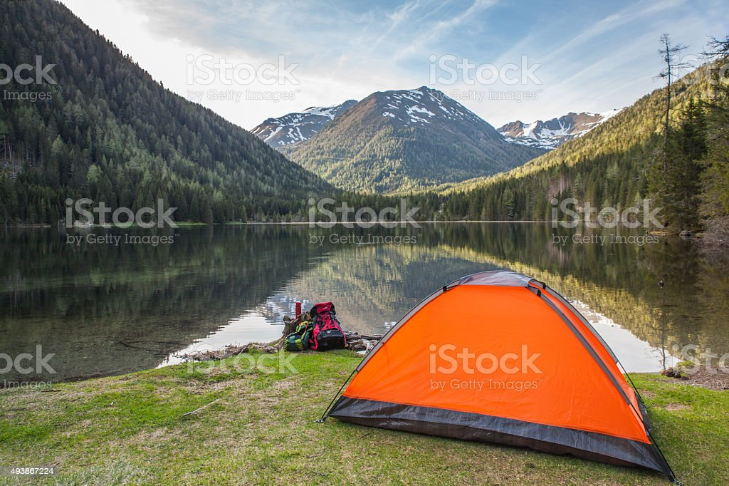 active holiday in the mountains alps stock photo