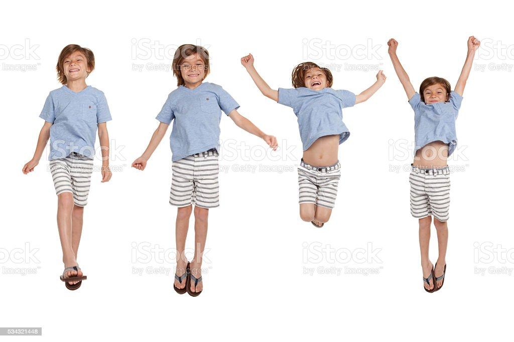Uma série de saltos menino - foto de acervo