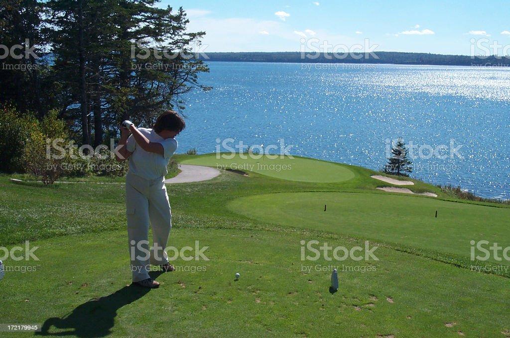 Active lady golfer royalty-free stock photo