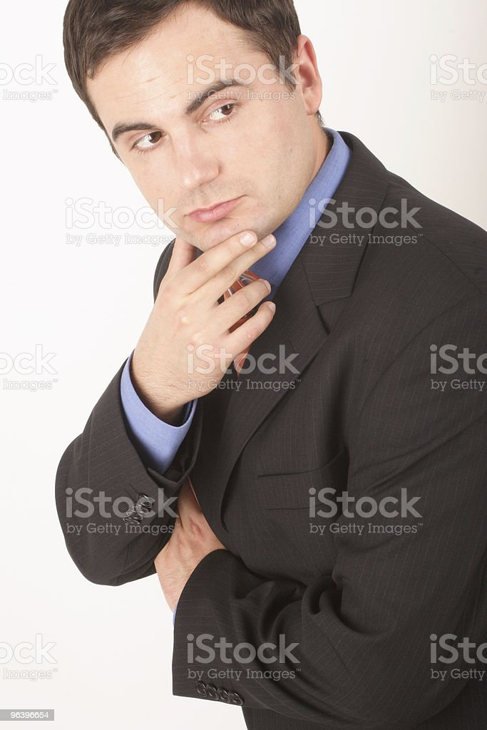 active listening white man in suit - close up royalty-free stock photo