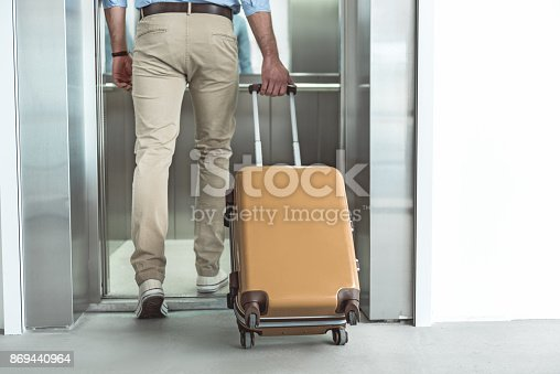 638591126istockphoto Active male is carrying luggage to lift 869440964