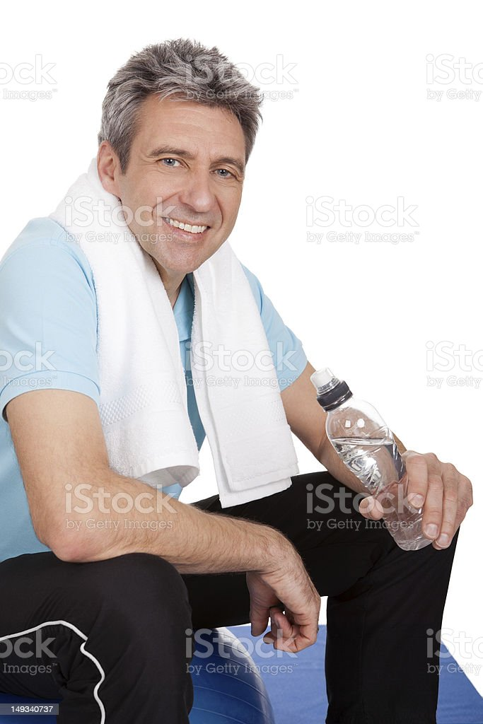Active mature man doing fitness royalty-free stock photo