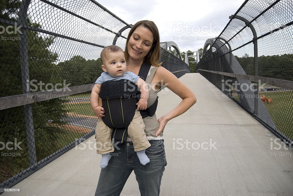 Active Mother and Baby Carrier royalty-free stock photo