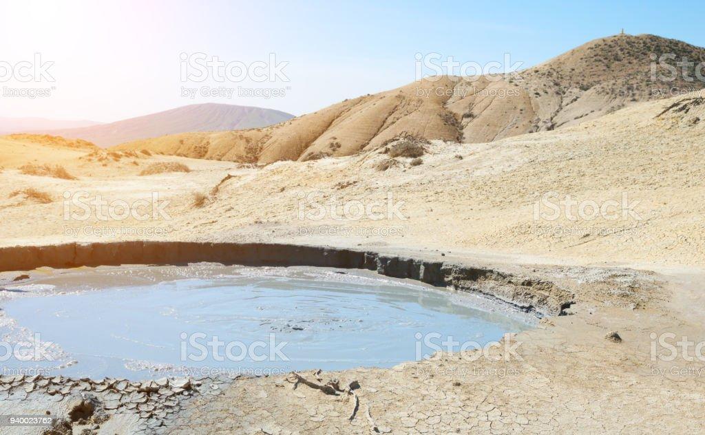 Active mud volcano stock photo