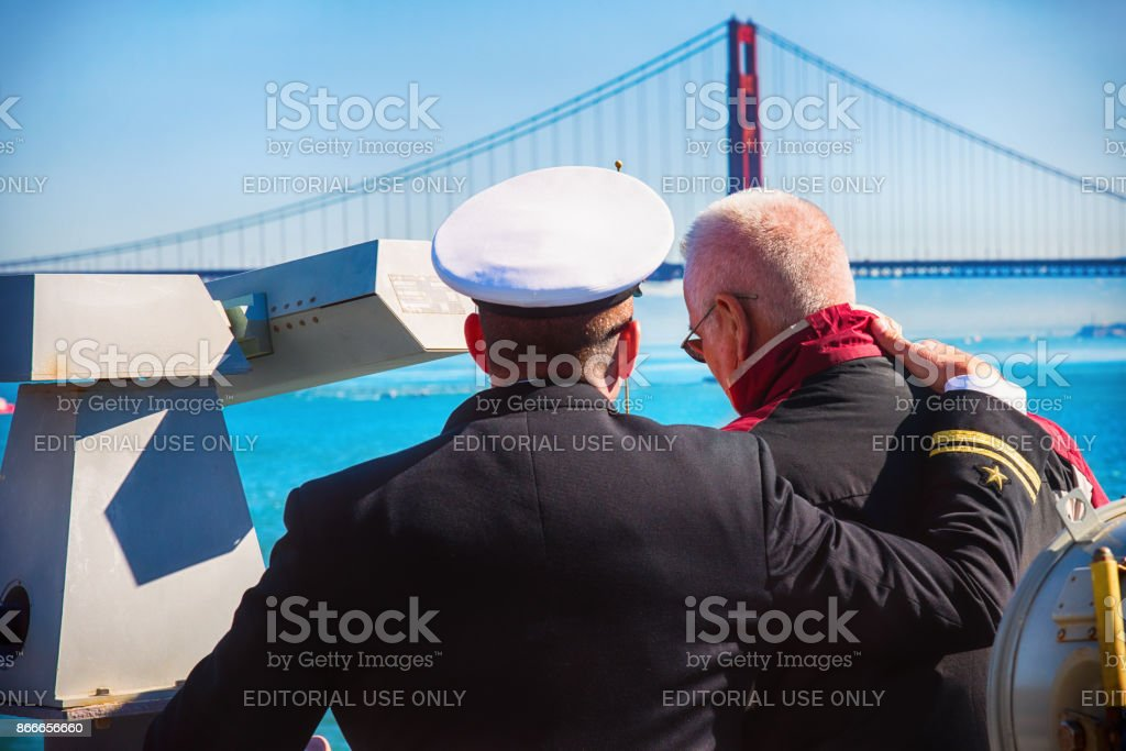 Active Naval Officer and Navy Veteran stock photo