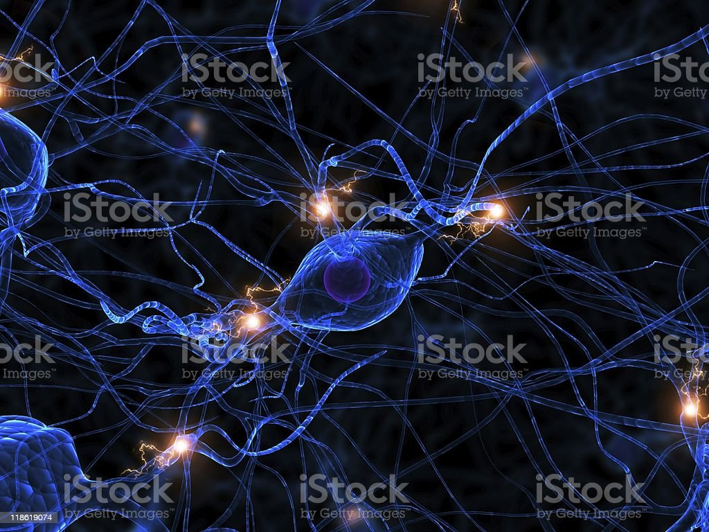 active nerve cell stock photo