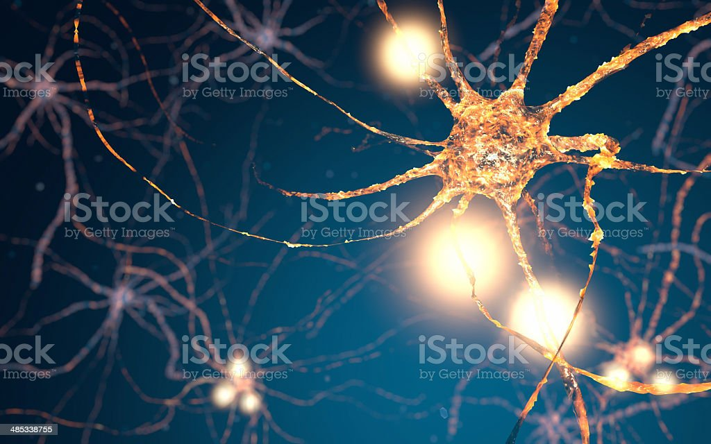 Active Neuron cells, synapse network royalty-free stock photo
