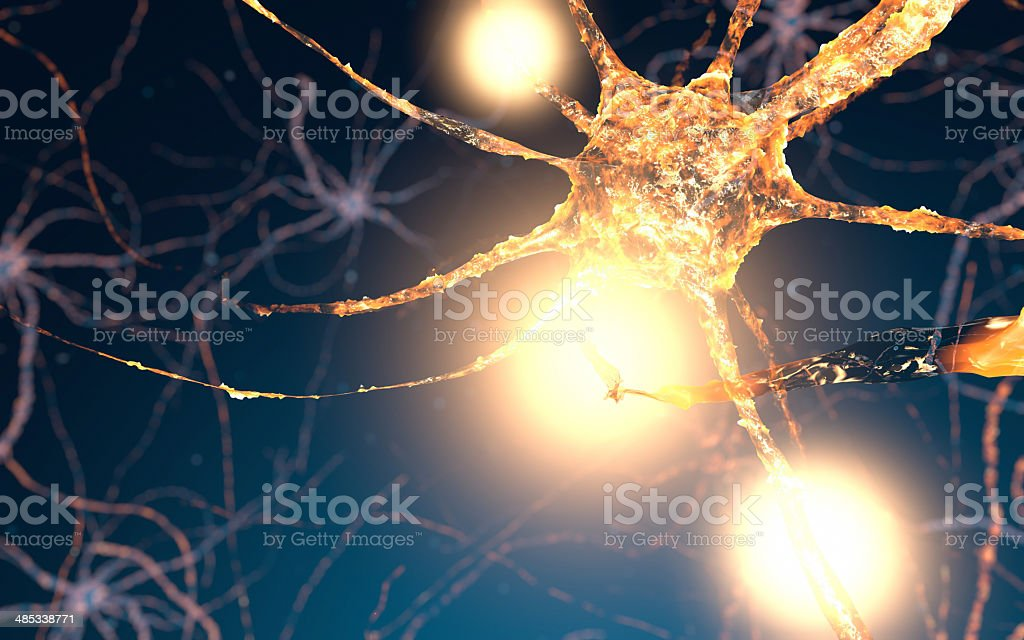 Active Neuron cells, synapse network stock photo