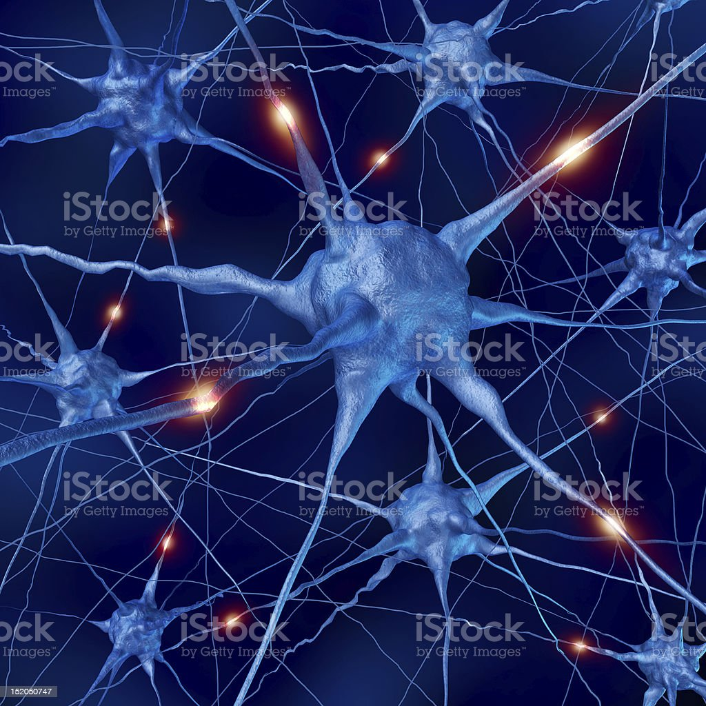 active neurons in the brain stock photo