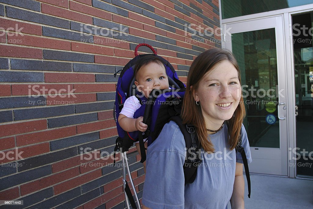 Active New Mother Traveling with Baby royalty-free stock photo