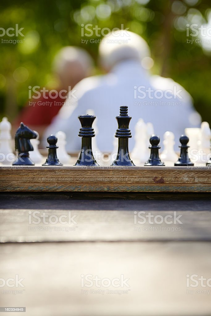 Active retired people, two senior men playing chess at park stock photo
