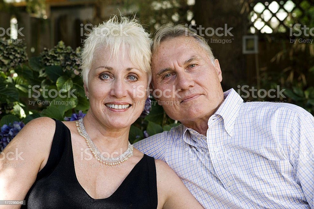 Active Senior Adult Couple Portrait Smiling Outside royalty-free stock photo