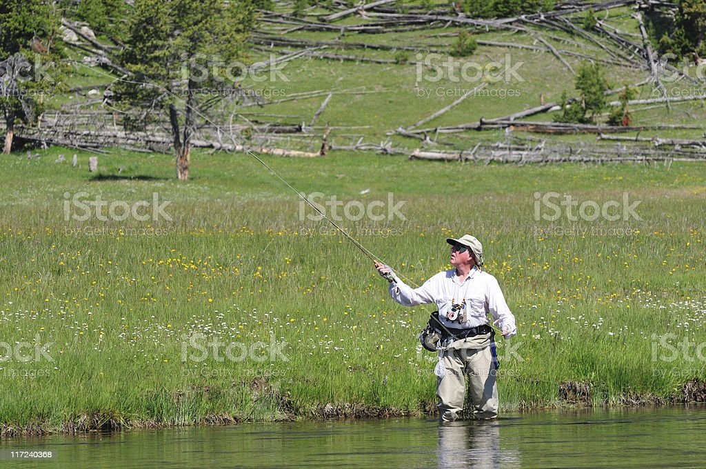 active senior fisherman royalty-free stock photo