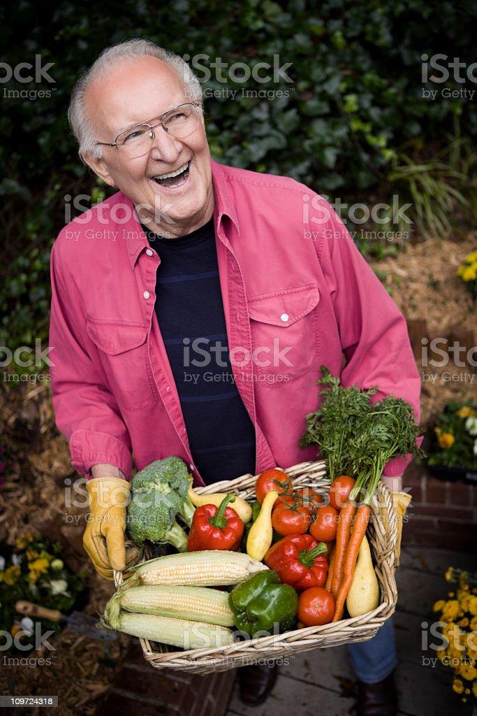 Active Senior Man in Garden royalty-free stock photo
