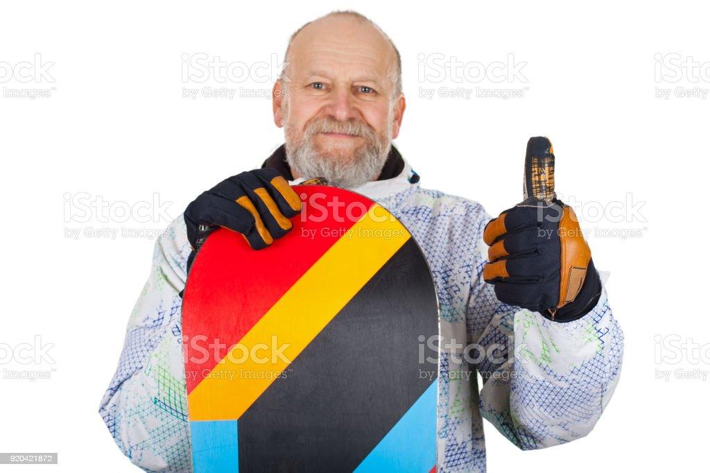 Aktive ältere Mann mit snowboard – Foto