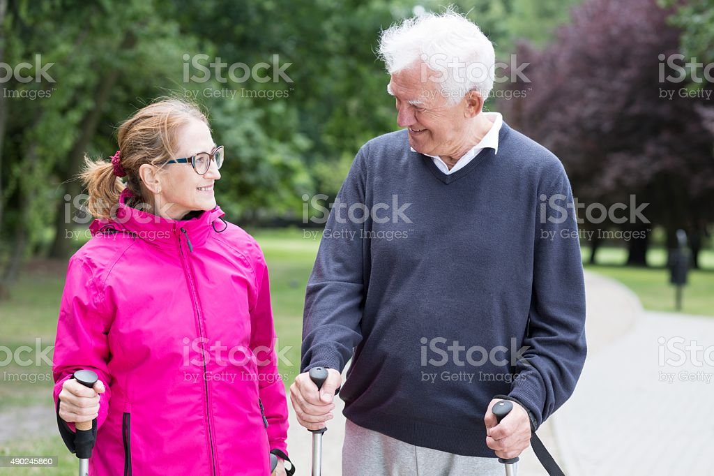 Active senior married couple stock photo