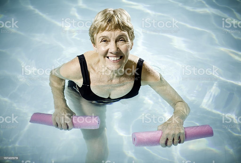 Active Senior Woman Aquasizing royalty-free stock photo