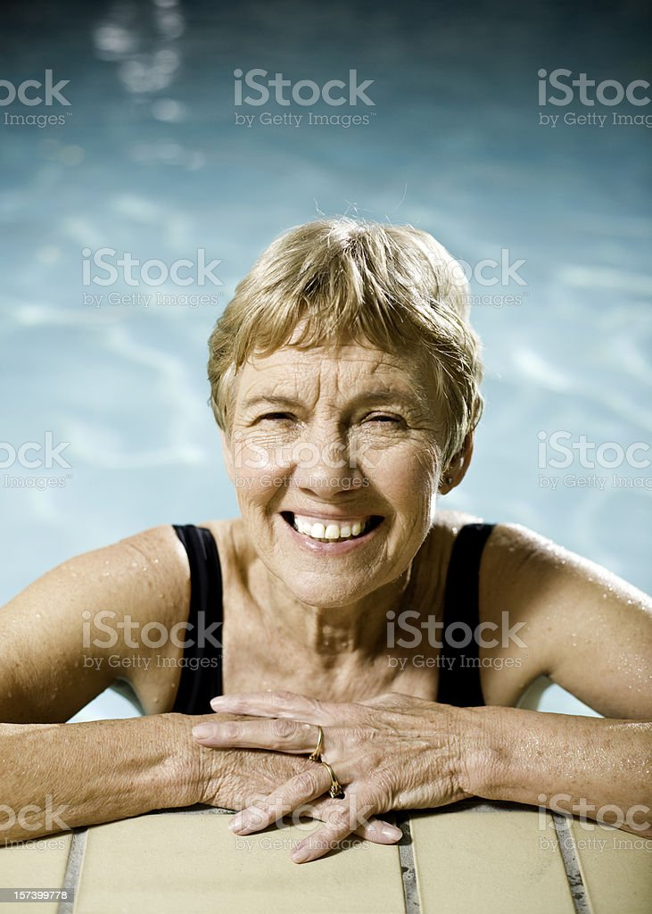 Active Senior Woman in the Pool royalty-free stock photo