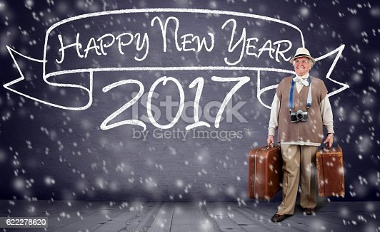 active senior woman traveling for new year, happy new year