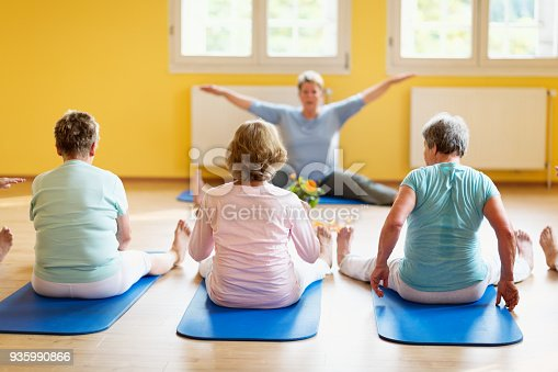 istock Active senior women in yoga class exercising on mat, teacher showing the exercise 935990866
