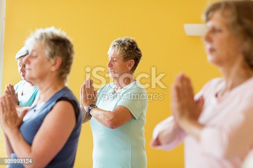 istock Active senior women in yoga class exercising standing in prayer pose 935993124