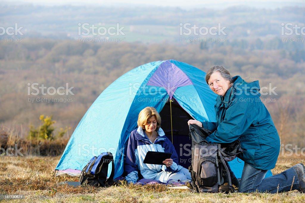 Active Seniors Camping stock photo