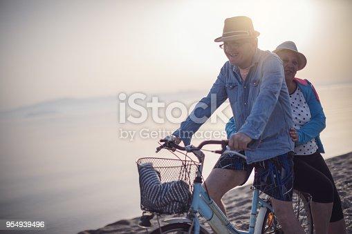 istock Active seniors couple with bike 954939496