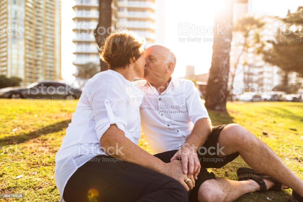 active seniors enjoy at the park in gold coast -australia stock photo