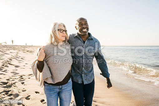 Active seniors on the beach