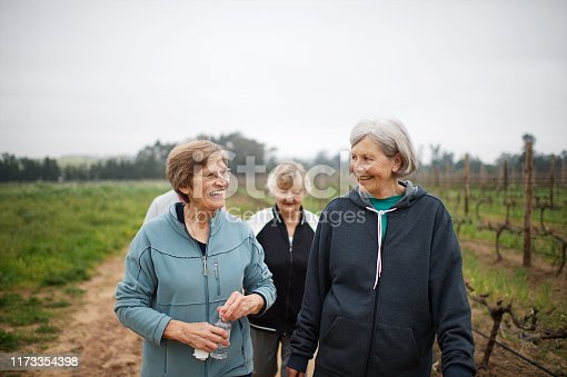 Four Active seniors women walking for exercise outdoors talking together on a misty morning in Stellenbosch South Africa