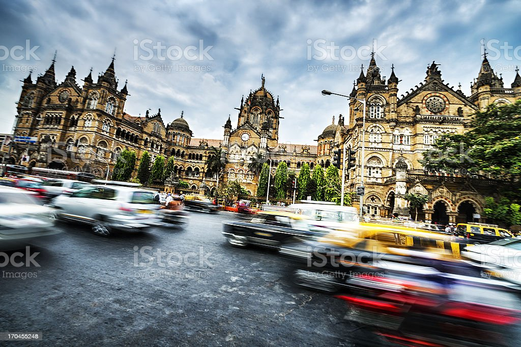 Active Victoria rail station in Mumbai stock photo