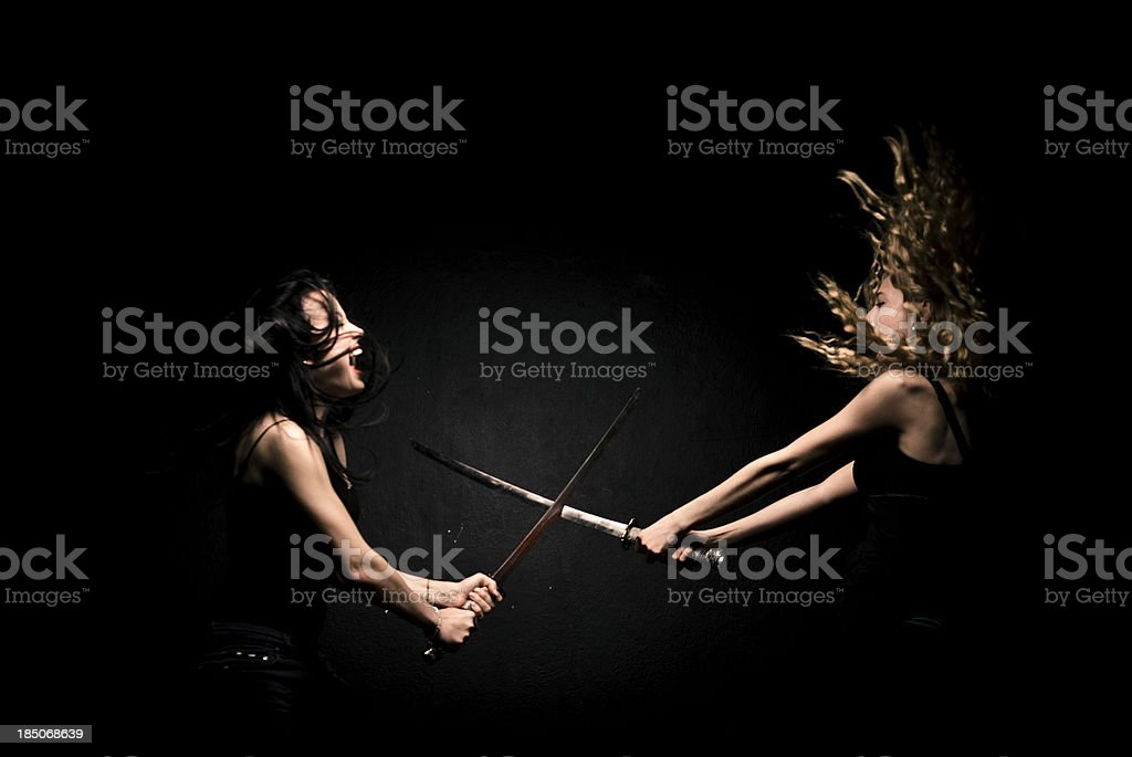Active woman female fighter stock photo