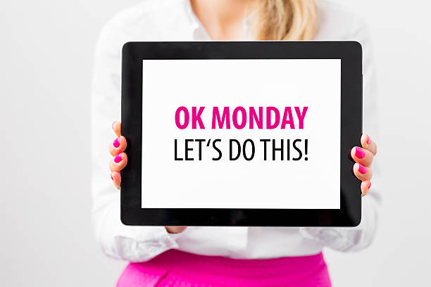active woman ready to start a week - monday motivation stock photos and pictures