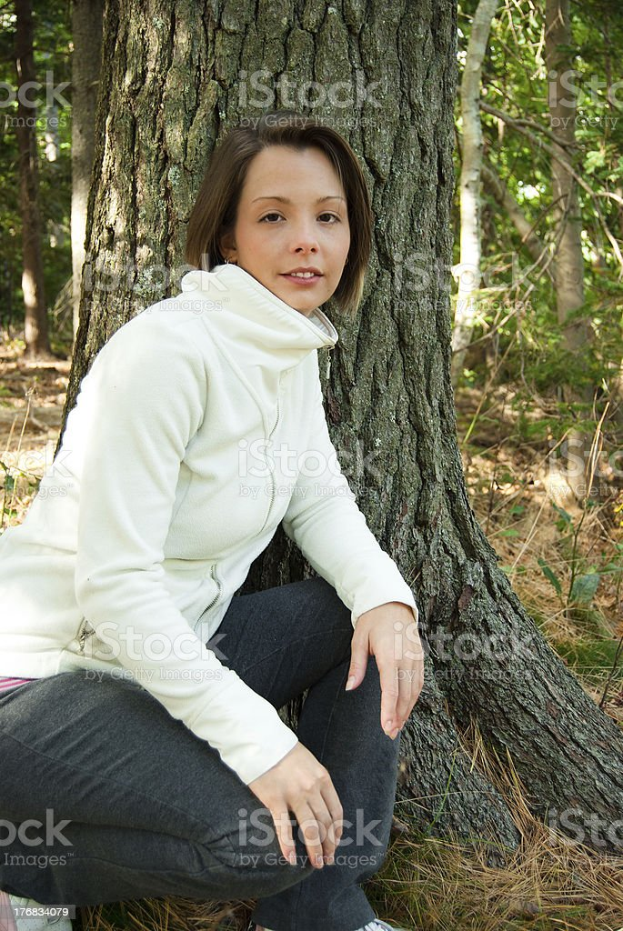 Active Young Woman in Nature stock photo