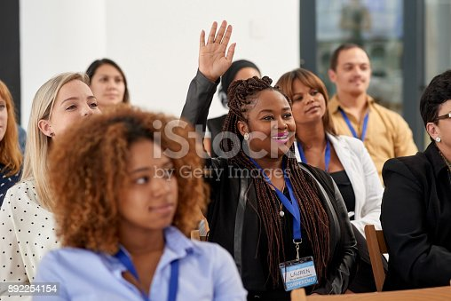 istock Actively participating in the conference 892254154