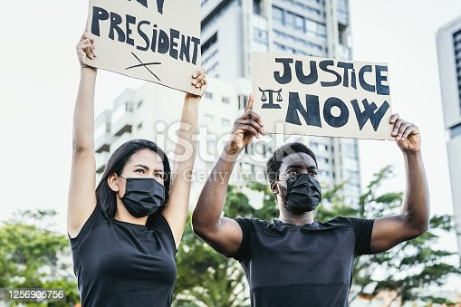 Activist movement protesting against racism and fighting for justice and equality