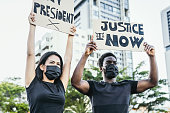 istock Activist movement protesting against racism and fighting for justice and equality 1256905756