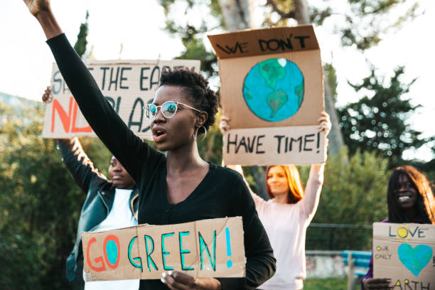 Activists demonstrating against global warming stock photo