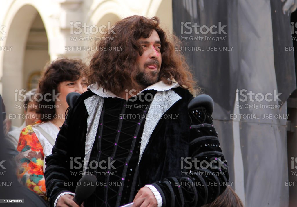 Actor Alexander Bargmann in image of great English poet, William Shakespeare at annual street celebration of birthday of another great writer, Feodor Dostoevsky stock photo