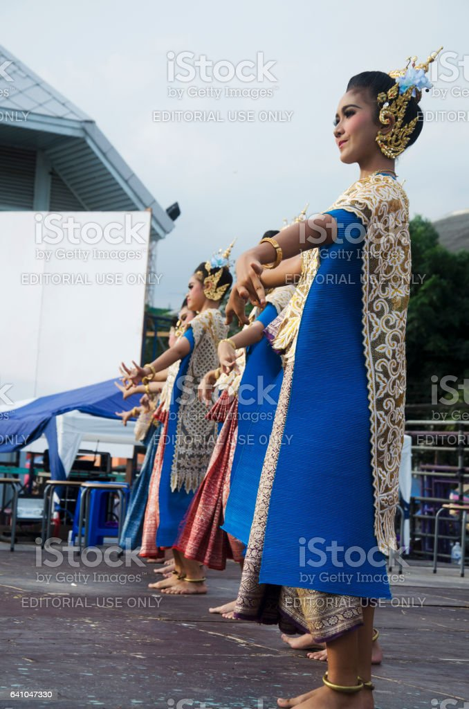 Actor and actress thai people dance thai style show people stock photo