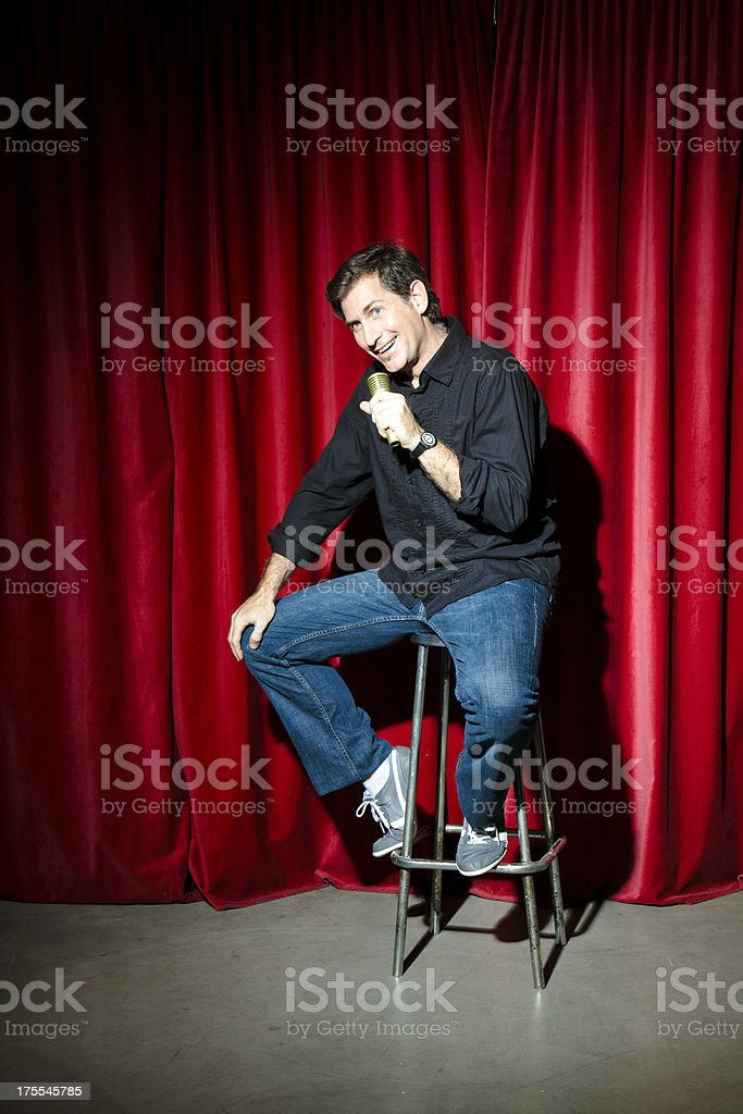 Actor comedian on stage stock photo